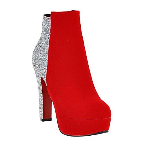 Carolbar Femmes Plus Taille Zip Sequins Plate-forme Talon Haut Robe Bottes Rouge