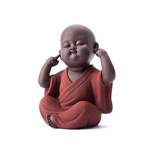 ABYSTEPS Statues & Sculptures - Handmade Buddha Tea Pet zisha Buda Monk Tea pet Tea Accessories kung fu Tea Set K001 1 PCs ()