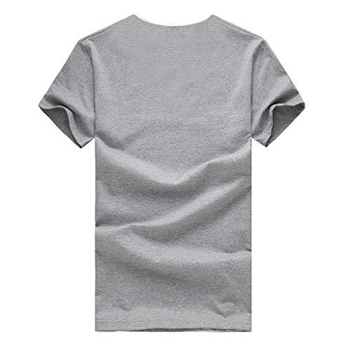 Pervobs Men's Summer Basic Casual Short Sleeve Crew Neck Printing Tees Shirt T-Shirt Top Daily Wear Blouse Regular Fit(2XL, Gray) by Pervobs Mens T-Shirts (Image #3)