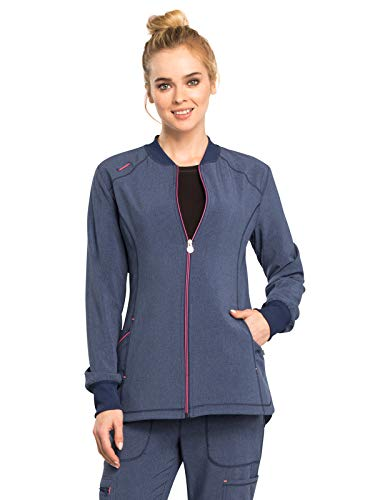 (Cherokee Infinity CK380A Women's Zip Front Warm-Up Jacket Heather Navy XL)