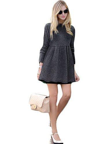 GSP-Damen Kleid - Übergrößen Übergröße / Sexy Solide Mini Polyester Rundhalsausschnitt