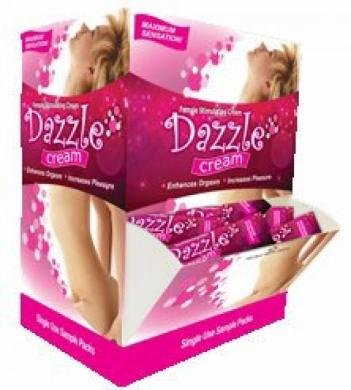 Gift Set Of Dazzle Cream 50Pc Display And one package of Trojan Fire and Ice 3 condoms total in package by Body Action