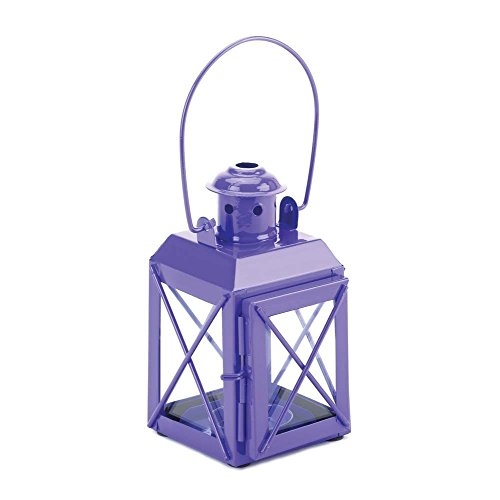 Gallery of Light Hanging Lantern Candle, Centerpiece Rustic Decorative Railway Purple Candle Lamp by Gallery of Light