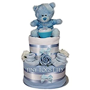Baby Boy Two Tier Nappy Cake New Born Baby Shower Gift with Sock Cupcake and Blue Teddy Bear