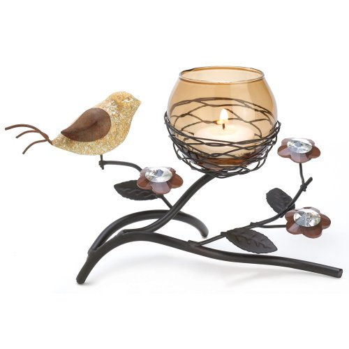 Gifts & Decor Partridge Bird Nest Branch Motif Tealight Candle Holder