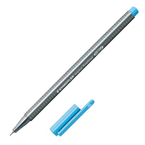 Staedtler Triplus Fineliner Marker Pen - 0.3 mm - Aqua Blue (Pen Triangular Shaped Metal)