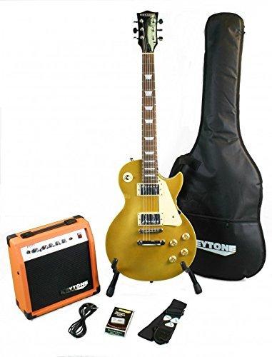 KEYTONE LP Style-Gold Top Guitarra eléctrica Set con Amplificador 20Watt & Accesorios