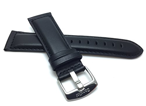 Extra Long (XL), 28mm wide, Black Genuine Leather Watch Band Strap, Mat Finish, Tone-on-Tone Stitching, Also Comes in