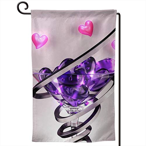 Wine Glass Love Heart Season Garden Flags Vertical Double Sided Outdoor Holidays Yard Flags for Outdoor Decor