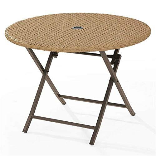YesKela Crosley Palm Harbor Wicker Folding Patio Dining Table in Light Brown (Crosley Palm Harbor Outdoor Wicker Folding Table)