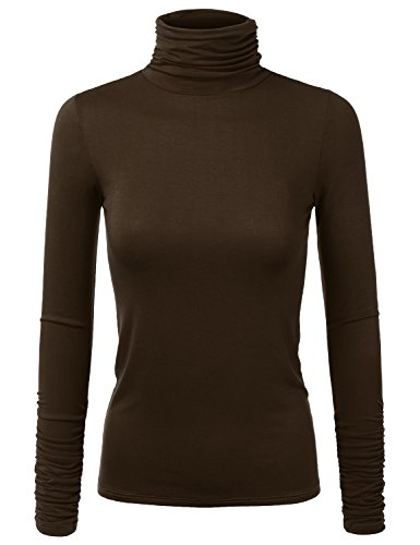 JJ Perfection Women's Lightweight Stretchy Turtle Neck Ruched Long Sleeve (Ruched Knit Top)