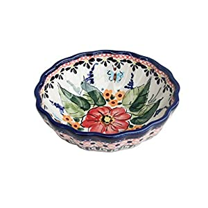 Blue Rose Polish Pottery Floral Butterfly Small Scallop Serving Dish