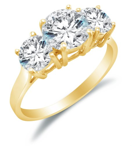 Size 8.5 - Solid 14k Yellow Gold 3 Three Stone Round Brilliant Cut Solitaire with Round Side Stones Highest Quality CZ Cubic Zirconia Engagement Ring (Yellow Gold Created Moissanite Solitaire)