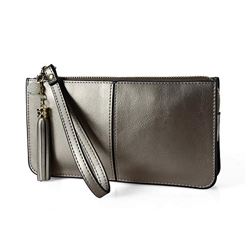 befen Soft Leather Wristlet Phone Wristlet Wallet Clutch with Wrist Strap/Card Slots/Cash Pocket - Warm Silver