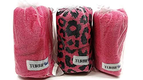 Set of 3 Animal Print 100% Cotton 2 Solid Pink and One Pink Leopard Turbie Twist Hair Towels (Pink Leopard)