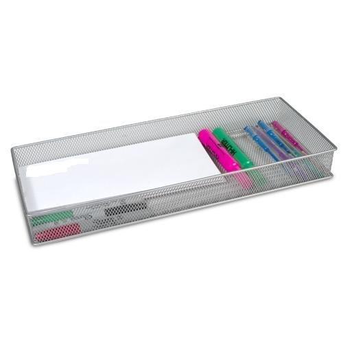Ybm Home Silver Mesh Drawer Cabinet and or Shelf Organizer Bins, School Supply Holder Office Desktop Organizer Basket 1611 (6x15)