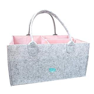 Baby Diaper Caddy Organizer - Baby Shower Gift Basket for Girls | Nursery Storage Bin Changing Table Diaper Change | Portable Car Organizer for Travel | Newborn Registry Must Haves (Pink)