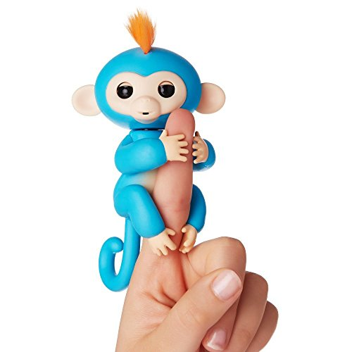 Finger Interactive Baby Monkey Toy MEIQING Pet Electronic Curious Kids Halloween Xmas Toys Birthday Present-Blue