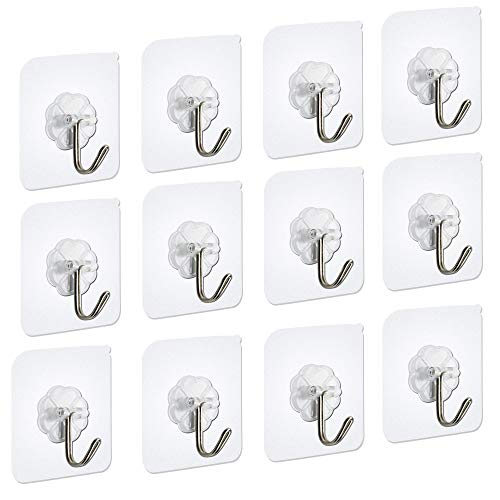Adhesive Wall Hooks Utility Hooks Seamless Transparent Hooks Wall Hanger 15 Pounds (Max) Without Nails, Waterproof and Oilproof For Brooms, Mops, Robes, Coats, Towels, Kitchen Utensils-12 Packs