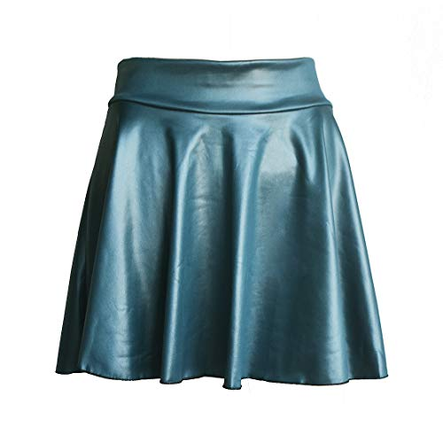 (TOOTO Women's Faux Leather Casual Fashion Stretchy Flared Pleated A-Line Circle Mini Skater Skirt (Blue-Green, M))