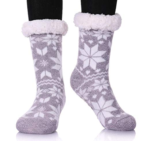 MIUBEAR Womens Thermal Slipper Socks Sherpa Lined Nonskid Fuzzy Cozy Winter Socks (Snowflake Light ()