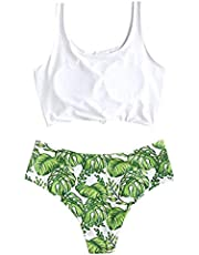 TOPBIGGER Women's High Cut Bikini Set Women's Scoop Neck Tropical Leaf Knotted Two Pieces Tankini Set Swimsuit