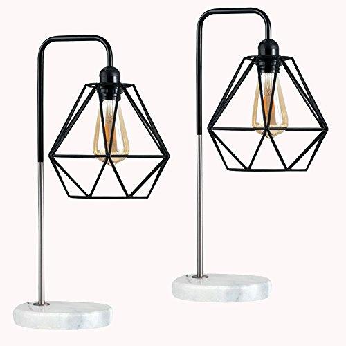 Cheap  Diamond Cage Desk Lamp, Motent 2pcs Vintage Modern Pyramid Shape Birdcage Table..