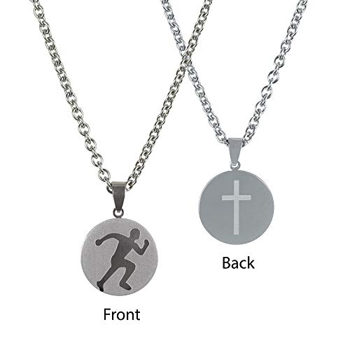 (Dicksons Track Runner Pendant 24 inch Men's Stainless Steel Necklace)