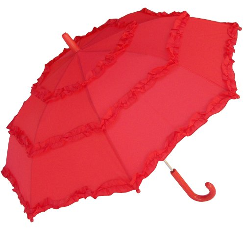 RainStoppers Girl's Solid Umbrella with Three Ruffles, Red, 34-Inch]()