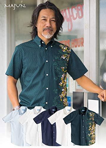 [MAJUN (マジュン)] 国産シャツ かりゆしウェア アロハシャツ 結婚式 メンズ 半袖シャツ ボタンダウン ハニカムグラス