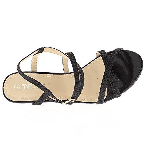 Sandales grande taille noires à talon de 10cm
