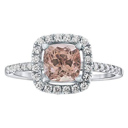 Cut Ring Diamond Bow Cushion (Olivia Paris 6mm Morganite and 1/3 Carat Diamond (H-I, I1) Cushion Open Halo Ring in 14k White Gold)