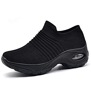41xguk58%2B%2BL. SS300  - HKR Womens Walking Tennis Shoes Slip On Light Weight Mesh Platform Nursing Shoes Air Cushion Sneakers All Black 9(ZJW1839quanhei41)