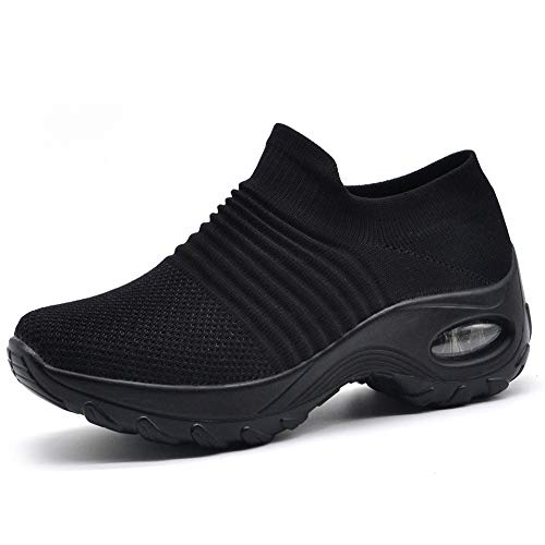 HKR Womens Walking Tennis Shoes Slip On Light Weight Mesh Platform Nursing Shoes Air Cushion Sneakers All Black 7(ZJW1839quanhei38)