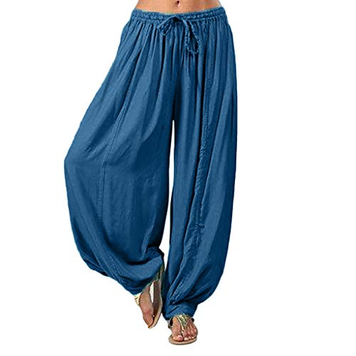 BBesty Save 15% Women's Solid Color High Waist Sport Yoga Workout Cotton and Linen Loose Fitness Elastic Leggings Pants Dark Blue