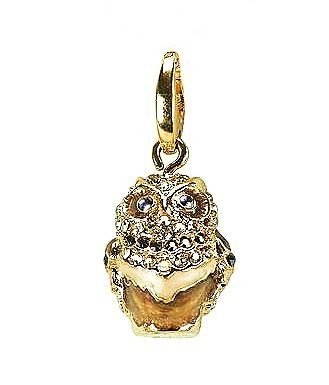 Judith Leiber Hoot Owl Crystal Charm Jewelry Swarovski 24k Gold Plated New Boxed