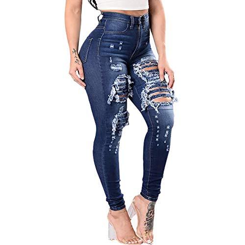 Alimao Fashion Women Slim Washed Ripped Hole Gradient Long Jeans Denim Sexy Regular Pants