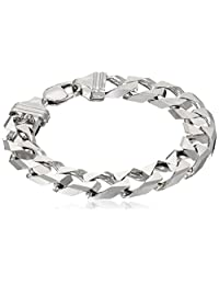 Men's Sterling Silver Italian Solid Curb-Link Bracelet