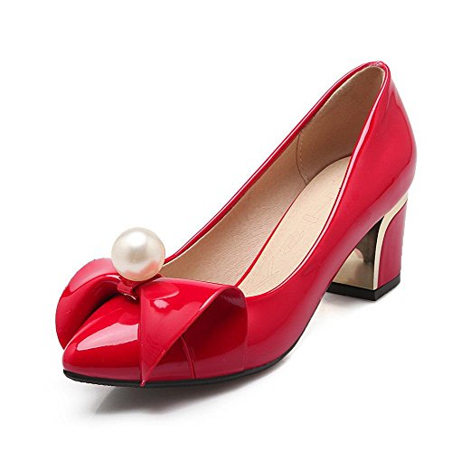 Amoonyfashion Mujeres Pu Kitten-heels Solid Pull-on Pumps-shoes Rojo