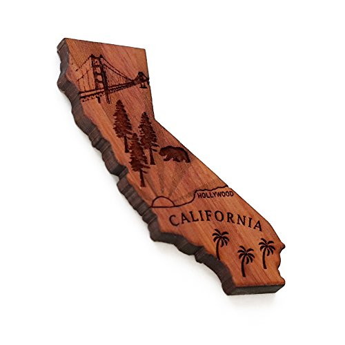 (California the Golden State Fridge Magnet - Perfect Souvenir made of Red Cedar Artwood with Stainless Steel Magnet for magnetic surfaces, fridges, refrigerators, mini fridges, RV, and collections)