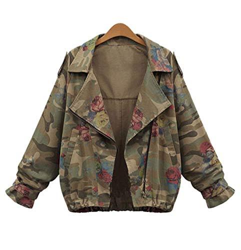 E Primavera Manica Autunno Corto Giacche Giacca Jungen Army Donna Cime Casual Cappotto Floreali Moda Jacket Green Outerwear Lunga Tops Camouflage Coat drnrgxwYq4