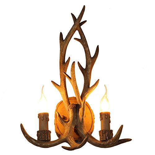Lovedima Retro Faux Antler Wall Lamp Twin Deer Horns Resin Antler Two Candle Wall Sconce Lighting Fixture