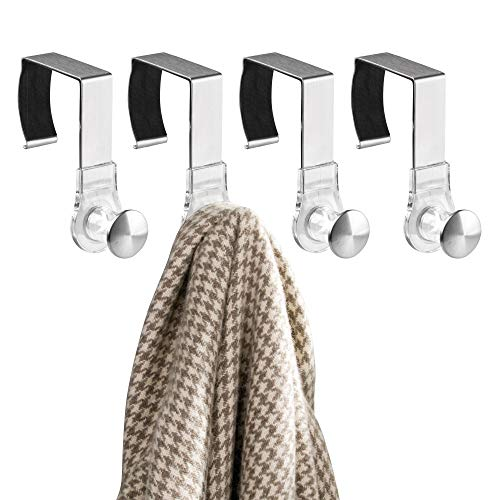 mDesign Office Over The Cubicle Wall Panel Storage Organizers Hooks Accessories for Coats, Hats, Purses, Bags, Keychain - Pack of 4, Clear/Brushed Stainless Steel