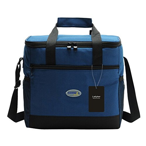 13L Cooler Bag, Ladyker Large Insulated Lunch Bag Lunch Tote Soft Cooler with Front Pocket, Sides Pockets, Adjustable Shoulder Strap, Handle Strap and Zipper for Women Men Outdoor Picnic Work Blue