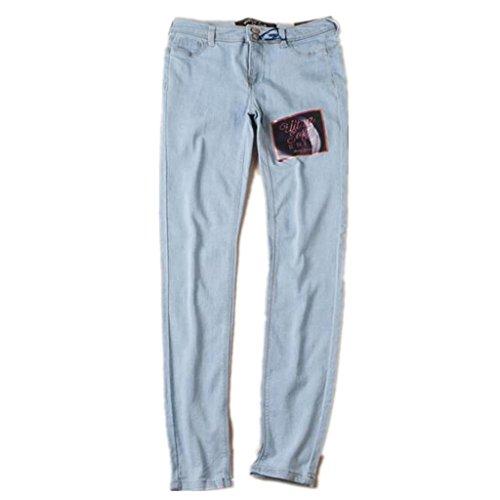 Wgwioo Damen Slim Jeans Denim Stretch Zerstören Skinny Riss Distressed Reißverschluss Langen Tastendruck Hose Hellblau