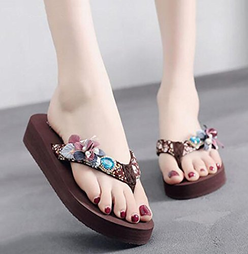 Korean outdoor sandals slippers version Size B slippers of Sandals Color heeled wedge shoes Flat fashion sandals C 41 Sandals and platform women flip high flops wild beach Fashion zqzA7O8