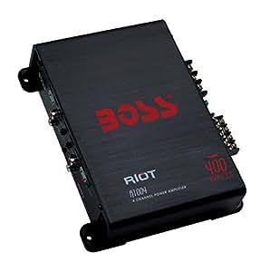 BOSS AUDIO R1004 Riot 400-Watt Full Range, Class A/B 2-8 Ohm Stable 4 Channel Amplifier
