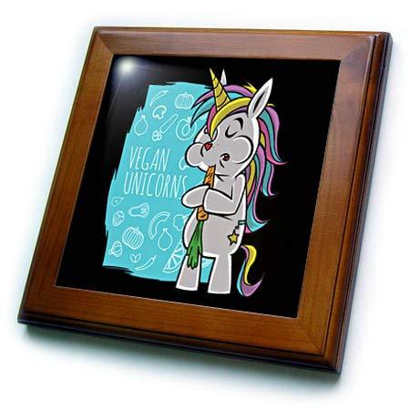 (3dRose Sven Herkenrath Fantasy - Vegan Food with Unicorn Horse and Rainbow - 8x8 Framed Tile (ft_316118_1))