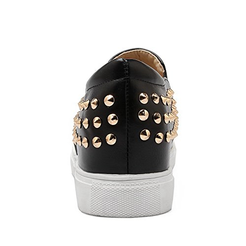 Odomolor Women's Studded Imitated Suede Low-Heels Round Toe Pumps-Shoes Black WxMLb