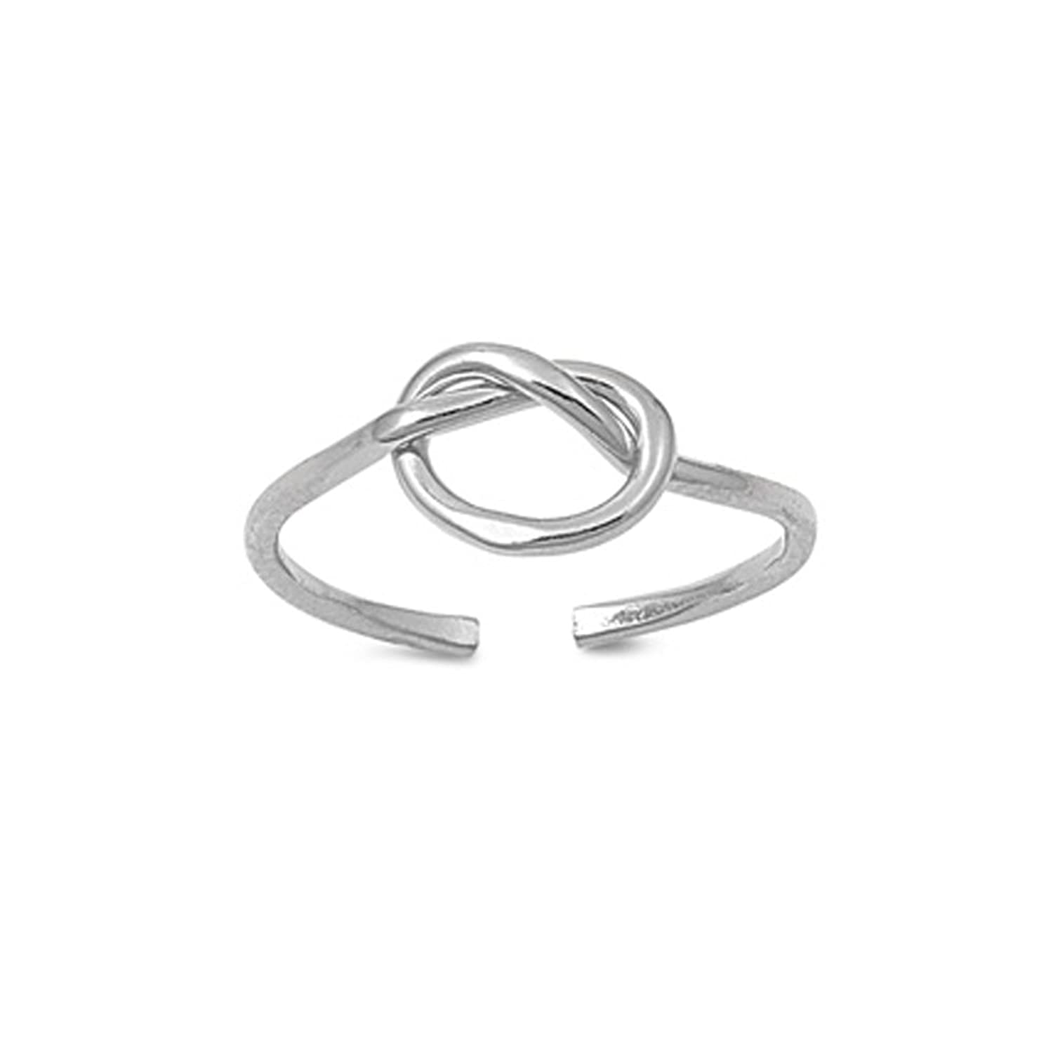 .925 Sterling Silver Knot Adjustable Toe Band Ring